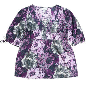 LOFT XS Purple Gray Floral Blouse Top